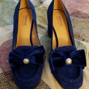 IMNYC blue suede shoes.